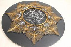 String Art SRI YANTRA GOLD  sacred geometry  meditation wall
