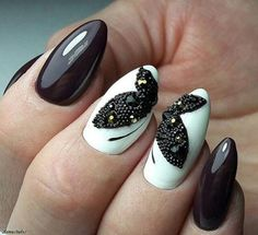 The cool thing about accent nails is that you dont need a design on every finger. Try adding black accents on all ten nails or compliment one or two. It can be tricky incorporating black accents to nails saysA base of silver or gold will always work but t Butterfly Nail Designs, Butterfly Nail Art, Colorful Nail Designs, Cute Nail Designs, Butterfly Drawing, Butterfly Hair, White Butterfly, Nails Polish, Best Nail Polish