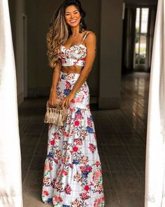 Sexy V Neck Bare Back Off-Shoulder Printed Colour Vacation Maxi Dress Suit Boho Fashion, Fashion Dresses, Fashion Looks, Womens Fashion, Spring Summer Fashion, Spring Outfits, Mode Hippie, Ethno Style, Dress Suits