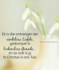 In Christus is ons tuis. Religious Quotes, Afrikaans, Qoutes, Faith Quotes, Quotations, Quotes, Quote, Religion Quotes, Devotional Quotes