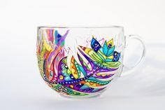 Large Coffee Mug, Glass Tea Mug, Feather Decor, Gift for her, 17 oz mug
