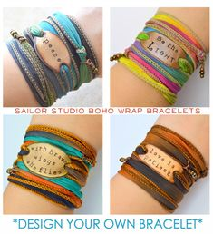 DESIGN your OWN Boho Silk Wrap Bracelet Custom by SailorStudio