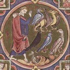 Bible moralisée  - Biblia historica-allegorica iconologica Veteris Testamenti cum textu marginali gallico. 2. Viertel 13. Jhdt. (1225-1249) Cod. 2554 Folio 60