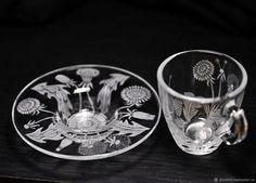 Купить кофейная пара чаша и блюдце цветы одуванчики в интернет магазине на Ярмарке Мастеров