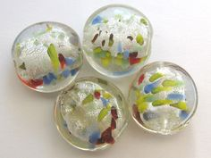 New at our Ebay store! Only $2.99 CAD + shipping  Loose Glass Beads 4 Pcs White Multicolor Murano Style Large Lentil 20mm x 10mm  http://www.ebay.ca/itm/301952595176?ssPageName=STRK:MESELX:IT&_trksid=p3984.m1586.l2649