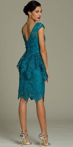 Beautiful knee length blue-green lace dress for mother of the bride/groom 2014 by Jovani, features an asymmetrical hem, elegant lace peplum detail and cap sleeves. The perfect spring-summer lace peplum mother of bride or groom gown! Summer Mother Of The Bride Dresses, Mother Of Bride Outfits, Short Summer Dresses, Mother Of Groom Dresses, Short Lace Dress, Mothers Dresses, Mother Bride, Lace Peplum, Mob Dresses
