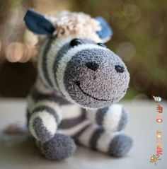 Deep in Thought  grey sock zebra by ApricotZoo on Etsy