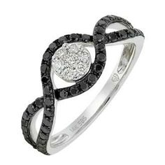 0.63 Carat Black Diamond 14K White Gold Women Rings 2.57g: Ring Size: 7 (Sizable)