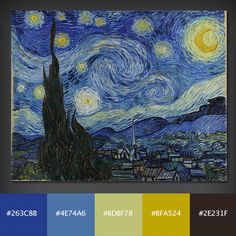 Color palettes from famous paintings- great resource!!