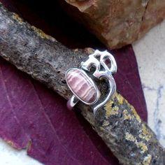 Rhodochrosit, 'Om' Ring, Ø 18,5 mm, 925 Sterling Silber in Uhren & Schmuck…
