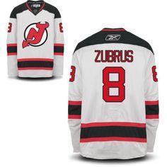New Jersey Devils 8 Dainius Zubrus Road Jersey - White  New Jersey Devils  Hockey Jerseys c1452b373