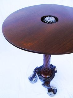 End/Side Table Pistons Gears and Walnut by mattjohnsondesigns, $545.00