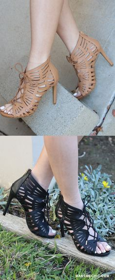 21822fe932 Let your shoes do all the talking in the Peep Toe Cut Out Booties! These