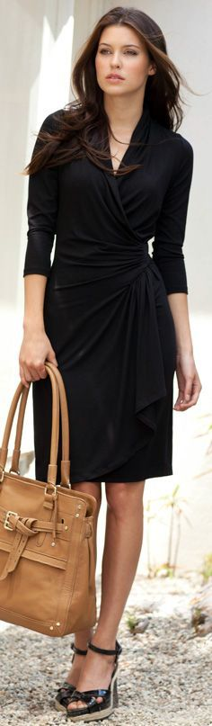 With a sleek, flattering silhouette, the this cascade wrap dress is as versatile as it gets. Long sleeves and a chic wrap-style front make it perfect for work, after hours, and weekends. This dress will become a constant classic you will reach for time and again.