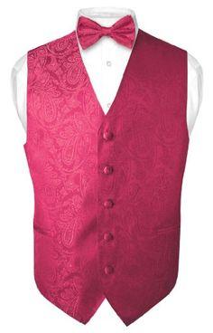 Men's Paisley Design Dress Vest Bow Tie HOT PINK FUCHSIA BOWTie Set size XXL Vesuvio Napoli,http://www.amazon.com/dp/B0058EE0W2/ref=cm_sw_r_pi_dp_BSRBtb0B24P3N4X5