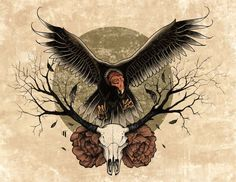 Deer Skull And Flying Vulture Tattoo Design