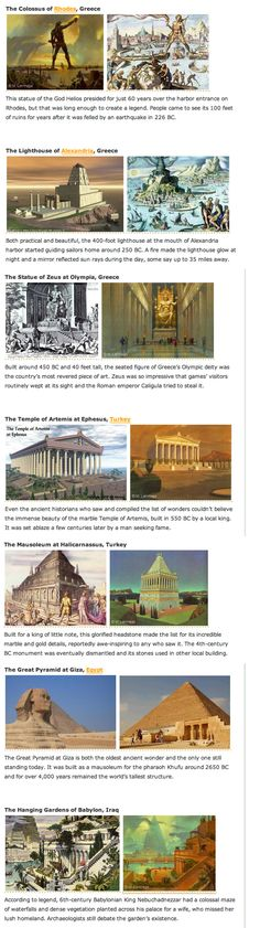Original 7 Wonders of the World. makes me sad that all but one has been destroyed.