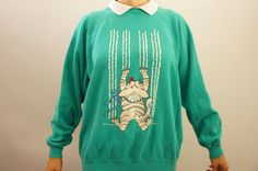 Vintage 80s 90s Cat Sweater by SycamoreVintage on Etsy
