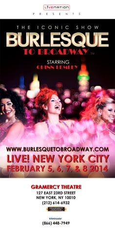 ATTENTION EVERYONE!!!! Gramercy Theatre has lost their marbles! SALE Black Friday– Cyber Mon pay NO SERVICE FEES on all shows through Feb. Get your February 5, 6, 7 & 8 BURLESQUE TO BROADWAY tickets this weekend at: www.ticketmaster.com (NO TICKETMASTER FEE) or stop by the Gramercy box office. Sale starts at 12:01am 11/29 and ends at 11:59pm 12/2. DON'T MISS OUT!!!