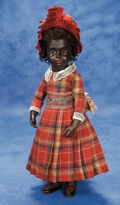 Superb and Rare French Black-Complexioned Bisque Bebe by Leon Casimir Bru 1880