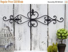 On Sale Ornate Black Wall Decor / Wrought Iron / Ornate Wall Decor / Shabby  Chic