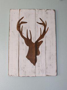 White Distressed Deer Head Silhouette Wood Sign- Jake's bathroom?