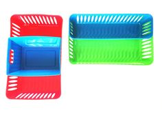Montessori basket elongatedbaskets and trays are essential in organizing the activity table especially for Montessori activities, essential colors, great shapes and sizes, lightweight. Keep your counters and small parts presentable and easy to access. Customize the look by fitting them one into another.  Shapes are oval, elongated, solid with handles, small rectangular basket. Enjoy!