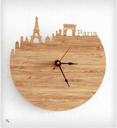 Clock Paris Eiffel Tower Arc de Triomphe Wall Clock by iluxo from iluxo on Etsy. Saved to wood work. Into The Woods, Wooden Clock, Wooden Walls, Cool Clocks, Paris Eiffel Tower, Large Clock, Triomphe, Modern Wall, Wood Art