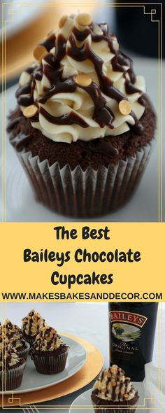 A recipe for baileys chocolate cupcakes from Makes, Bakes and Decor. A baileys flavoured chocolate cake with baileys buttercream and chocolate ganache. Perfect for st patricks day or Christmas. Chocolate Baileys, Chocolate Ganache, Baileys Cake, Chocolate Chocolate, Baking Cupcakes, Cupcake Cookies, Coffee Cupcakes, Gourmet Cupcakes, Sweet Cupcakes