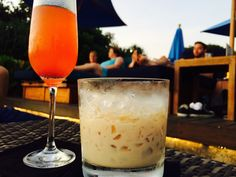 Drinks at sunset relax mozaic beach club Bali