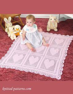 "Baby blanket crochet pattern free Bernat Softee Baby Light 3 skeins :: 34""x 35"""