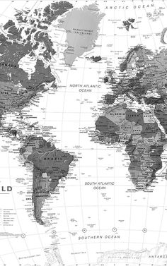 Black and White Map Wallpaper Mural Wallpaper Mundo, World Map Wallpaper, Black And White Picture Wall, Black And White Pictures, Black White, Summer Captions, World Map Mural, Detailed World Map, Bedroom Wall Designs