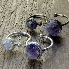 Amethyst Double Finger Ring Two Finger Ring Bohemian Jewelry by EponasCrystals on Etsy