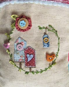 hand-stitched birdhouses ~ I can't help but smile when I look at this :)