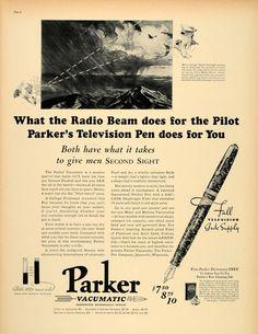 1937 Ad Parker Vacumatic Ink Pen Dictionary Radio Beam - ORIGINAL LF3