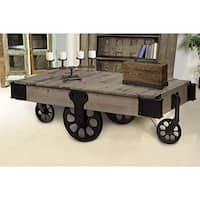 The Industrial Coffee Table measures 51 W x 27 D x 17 H inches. This coffee table features a washed pine with cast-iron black finish.