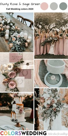 Best 8 Fall Wedding Color Combos for 2020 - Dusty Rose & Sage Green Wedding: dusty rose bridesmaid dresses, wedding invitation set, rings, table decor and wedding cake. Green Fall Weddings, Sage Green Wedding, Dusty Rose Wedding, Spring Wedding Colors, Fall Wedding Themes, Fall Wedding Inspiration, August Wedding Colors, Country Wedding Colors, Fall Wedding Table Decor