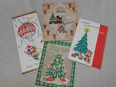 Vintage Christmas Card 50s 4 Son Glitter Puppy Reindeer Buzza Cardozo Unused | eBay