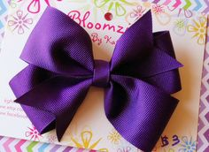 Girls 3 Inch Handmade Purple Hair Bow by Bloomzies on Etsy, $3.00