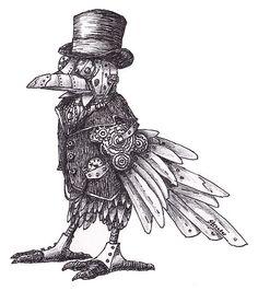 'Steampunk Raven' by Betsy Streeter Steampunk Images, Steampunk Bird, Steampunk Animals, Mechanical Arm Tattoo, Mechanical Art, Arm Tattoos Drawing, Fox Tattoos, Tree Tattoos, Deer Tattoo