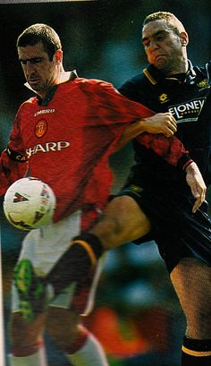 Manchester United's Eric Cantona and Wimbledon's Vinnie Jones