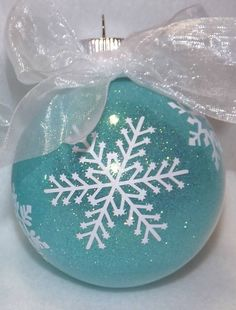 ~ Glittered Snowflake Glass Ornament ~ by SheerasCreations....It would be so easy to make....