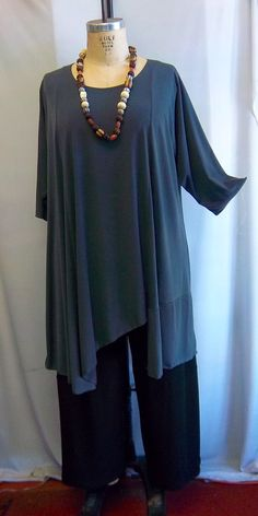 Coco and Juan Plus Size Lagenlook Asymmetric Tunic Top Stone Gray Traveler Knit Size 2 (fits 3X,4X)   Bust 60 inches via Etsy