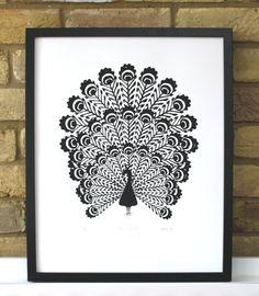 Peacock print screenprint hand printed by PaperRainbowPrints