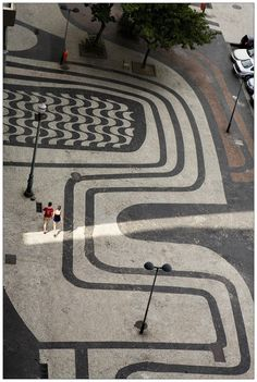Copacabana's sidewalk motifs by Roberto Burle Marx, Rio de Janeiro