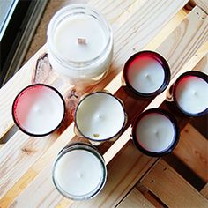 Simple and quick DIY for homemade soy candles in pretty candle holders. ♥