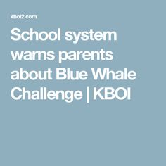 School system warns parents about Blue Whale Challenge | KBOI