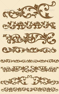 Buy Javanese Vintage Floral Ornament Set by BluezAce on GraphicRiver. A vector set of javanese's beautiful vintage of floral circle ornament. Stencil Patterns, Stencil Designs, Embroidery Patterns, Machine Embroidery, Motif Vintage, Vintage Patterns, Vintage Floral, Vintage Borders, Motif Arabesque