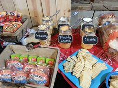 Toppings in Mason jars with Chalkboard labels Farmer Birthday Party, Chili Bar, Chalkboard Labels, Pimento Cheese, Crackers, Mason Jars, Snack Recipes, Chips, Pumpkin