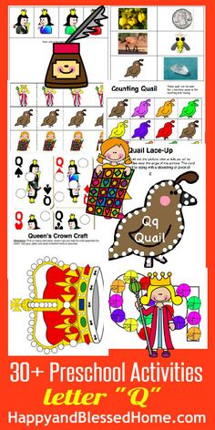 "30+ FREE Preschool Activities with 50+ FREE Printables for Learning to Read Letter ""Q"" from www.HappyandBlessedHome.com #FREEPrintables #PreschoolActivities"